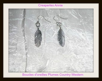 Earrings feathers Country Western