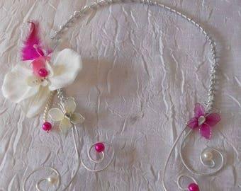 Aluminum or Fuchsia bridesmaid wedding necklace