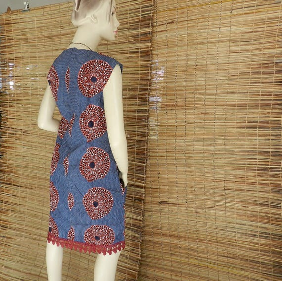 Ankara and mi African courte 36 T lace Chic 40 in dress fabric zip tXznw