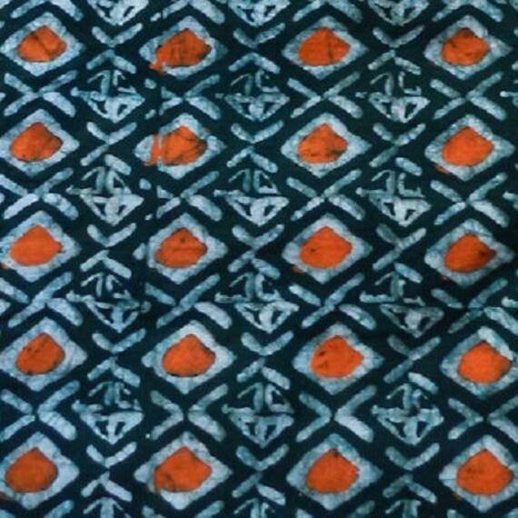 coupon de tissu coton collection vert et orange motif au etsy. Black Bedroom Furniture Sets. Home Design Ideas