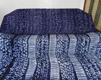 Bedspread ethnic indigo blanket and plaid luxury large size cloth Africa ref: PL-March-03 lamaisonrafacia. 273 cm x 260 cm