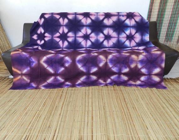 jet de canap et couverture de lit marron bleu en tissu motif etsy. Black Bedroom Furniture Sets. Home Design Ideas