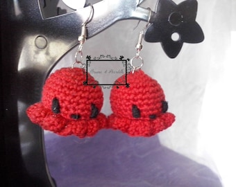 Amigurumi Octopus red earrings