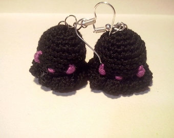Amigurumi Octopus black earrings