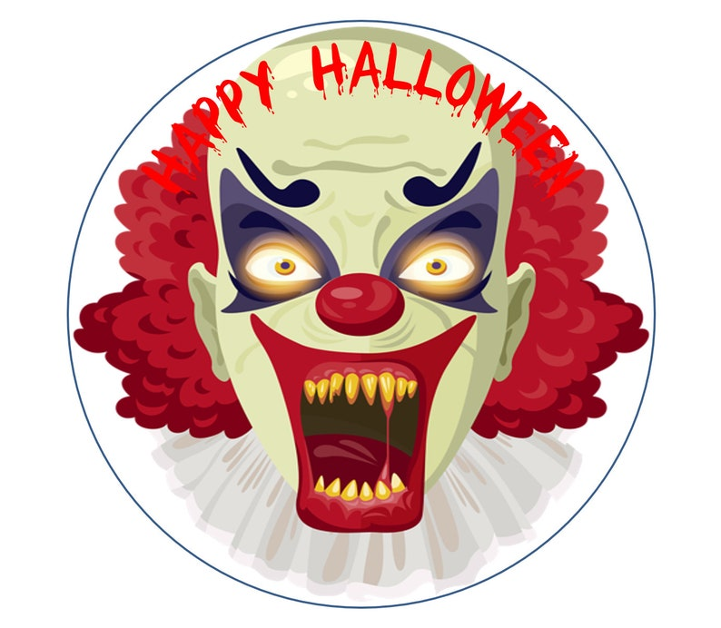 Happy Halloween Scary Clown Round Circle Cake edible Icing or Wafer Topper decoration Personalised