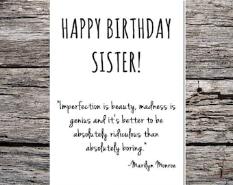 Items Similar To Famous Quotes Birthday Card Sister Birthday Card
