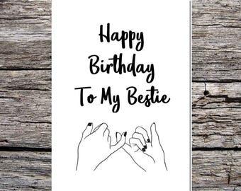 White Rustic Country Chic Style Best Tea Birthday Card Bestie Best Friend