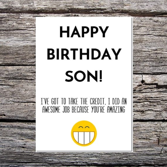Son Birthday Card Funny Happy