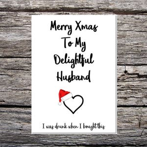 husband christmas card sarcastic card merry xmas husband funny card delightful husband i was drunk when i bought this heart santa hat - Merry Christmas Husband
