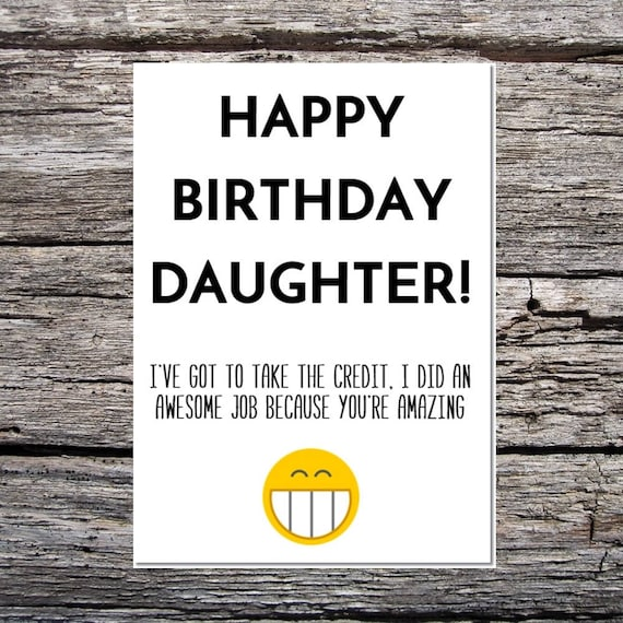 Daughter Birthday Card Funny Birthday Card Funny Happy Etsy