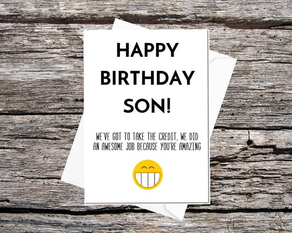 Son Birthday Card Funny From Mum And Dad