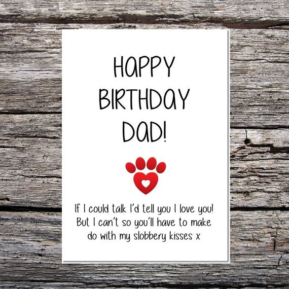 Card From The Dog Funny Dad Birthday