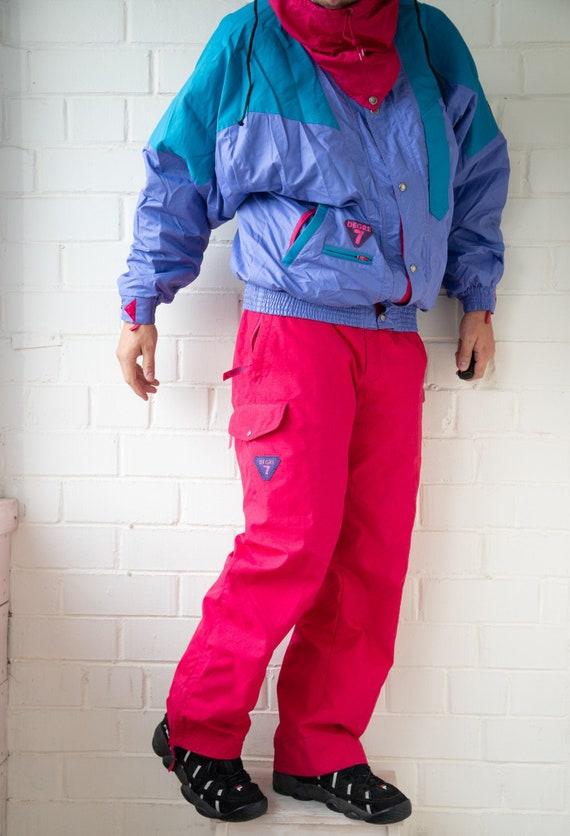 Vintage DEGRE 7 Ski Jacket and Ski Pants   Multi c