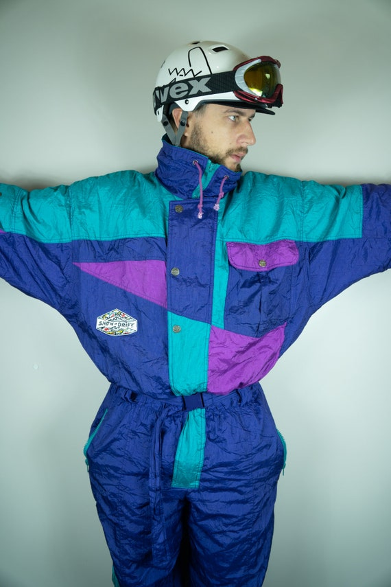 Vintage SNOW Drift Ski Suit Multi color Ski Suit S