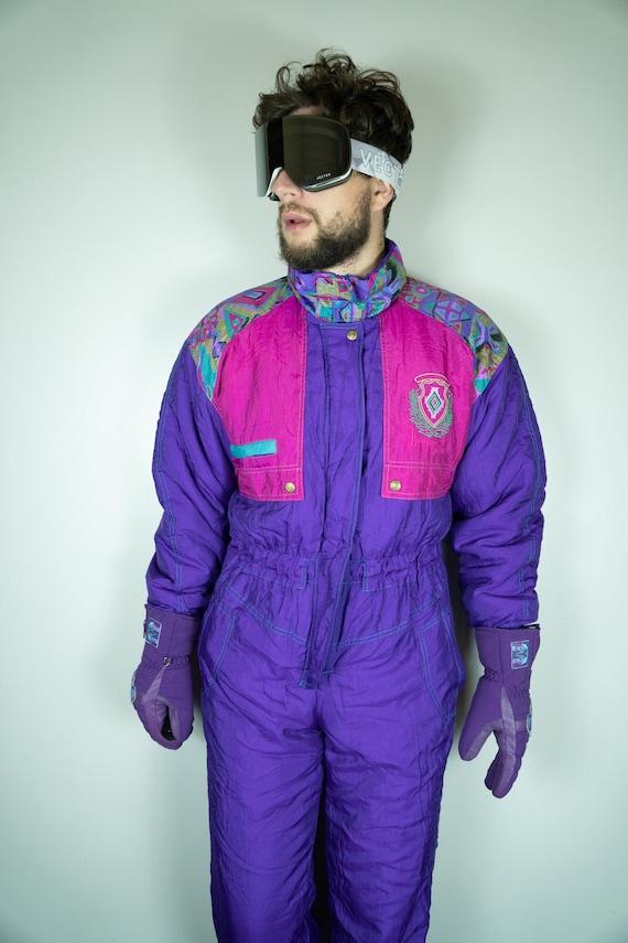 Vintage Ski Suit   Multi color Ski Suit   Snowboar