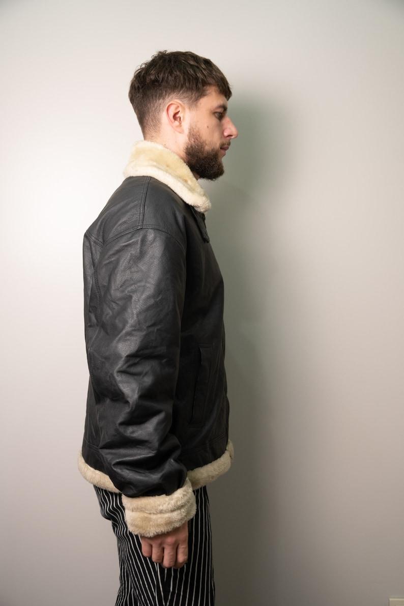 Winter Jacket Size Large Leather Shearling Jacket Leather Unisex Bomber Jacket Vintage Black Shearling Jacket