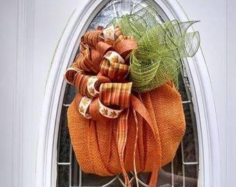 Burlap Pumpkin Door Hanging