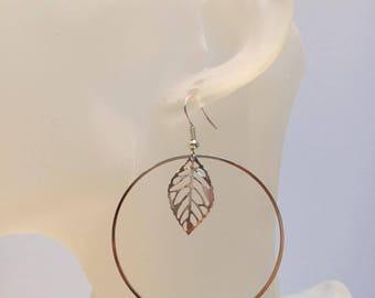 Fine leaf and creole earrings