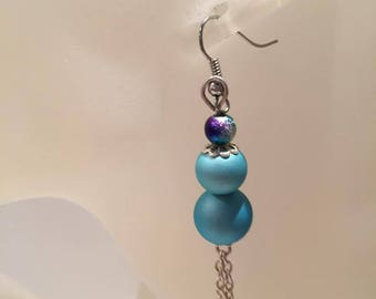 Blue and multicolored beaded earrings