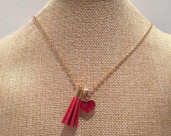 Gold tassel and Red Heart Necklace