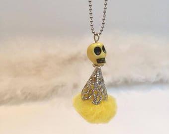 Doll skull ORIGINAL yellow tassel necklace