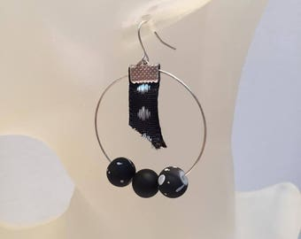 Black and white pearls and creole earrings