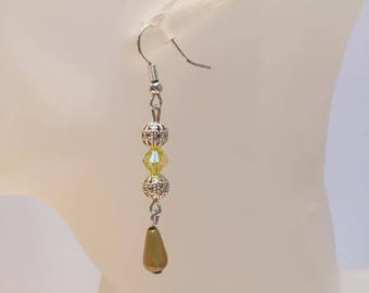 Yellow and silver beads earrings