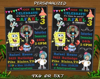 Spongebob,Spongebob Invitation,Spongebob Birthday,Spongebob Birthday Party,Spongebob Birthday Party Invitation