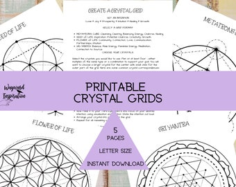 Crystal Grid Layout | Sacred Geometry Printable | Book of Shadows Pages | Crystal Magic | Flower of Life | Metatrons Cube Printable