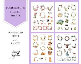 Four Seasons Printable Sticker Sheet | Seasonal Planner Stickers | Printable Book of Shadows Embellishments | Printable Stickers