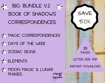 Grimoire Bundle | Printable BOS | Correspondence Pages | Book of Shadows Expansion Pages