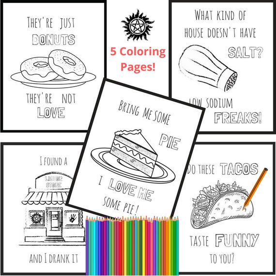 Supernatural Fandom Coloring Pages Spn Family Wayward Son Funny Kitchen Wall Art Gift For Geeks Fangirl Coloring Page