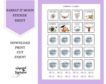 Planner Stickers | DIY Sticker Sheet | Printable Sabbat Stickers | Full Moon Stickers | Book of Shadows Stickers