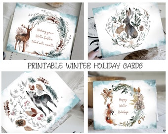 Woodland Holiday Cards | Printable Cards | Winter Solstice | Winter Holiday Greetings | Witchy Cards | Printable Blank Cards