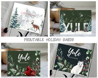 Yule Holiday Cards | Printable Holiday Cards | Solstice Blessings | Yule Blessings | Winter Holiday | Pagan Cards | Printable Blank Card