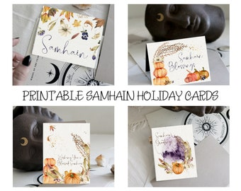 Samhain Holiday Cards | Printable Cards | WItches New Year | Samhain Greetings | Witchy Cards | Printable Blank Cards