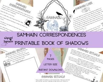 Samhain Correspondence Pages | Book of Shadows | Printable BOS | Grimoire Pages | Magic Correspondences | Magic Grimoire