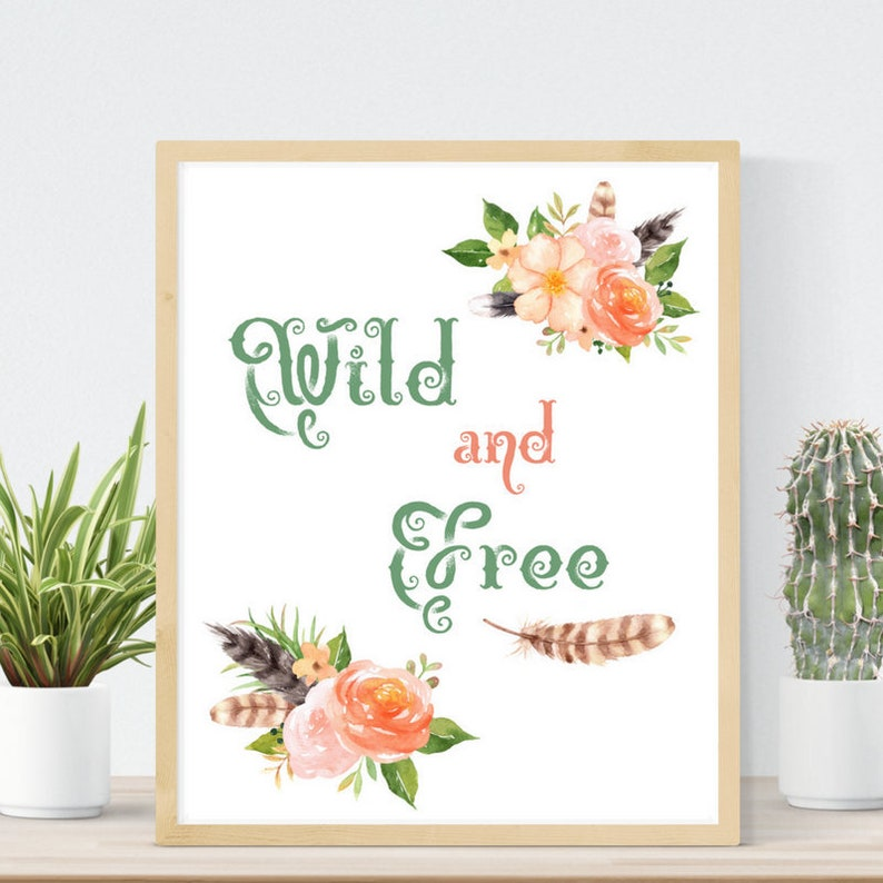 picture regarding Free Printable Wall Art Flowers called Wild and Free of charge Printable Wall Artwork Peach Floral Boho Artwork Wild and Free of charge Nursery Print Bouquets and Feathers Peach and Eco-friendly Watercolor