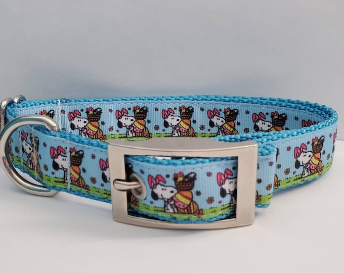 """Featured listing image: 1"""" Charlie Brown Snoopy Easter Dog Collar"""