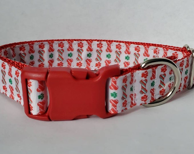 "Featured listing image: 1""  Christmas Candy Cane Dog Bones Paw Print Santa Dog Collar"
