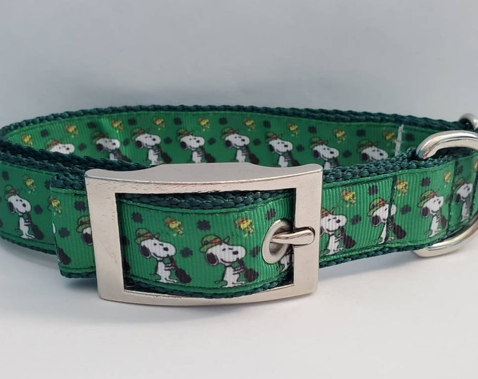 """Featured listing image: 1"""" Snoopy Emerald Green Gold St. Patrick's Day Irish Dog Collar"""