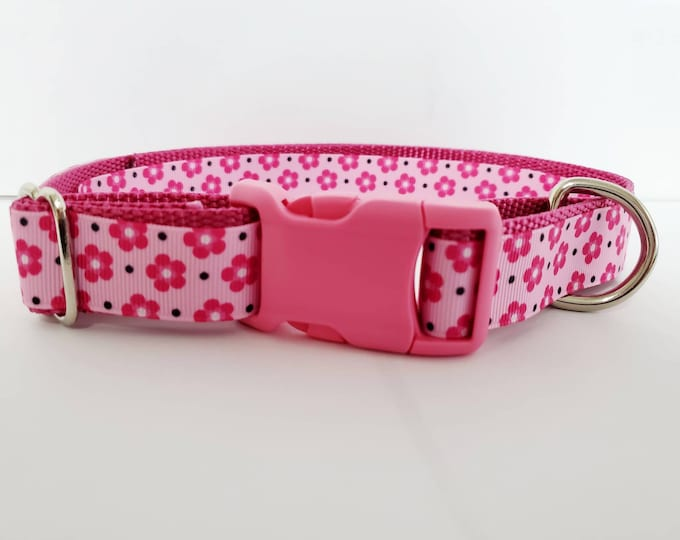 """Featured listing image: 1"""" Pink Flower Pastel Summer Spring Girly Hawaiian Hibiscus Dog Collar"""