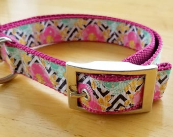 "1"" Pink and Gold Flowers Dog Collar"