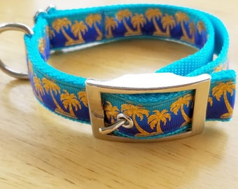 """1"""" Gold Foil Tropical Palm Tree Dog Collar"""
