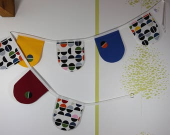 Seven multicolored rounded pennants Garland.