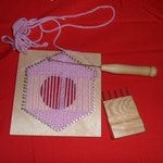 Pin Loom set ( pot hole), knitting frame,  hexagon diagonal continuous weave knitting loom. 6 inch , 15 cm loom with 6mm pin gap UK based