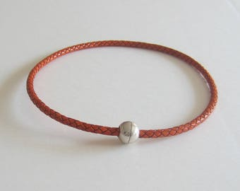 Orange braided leather cord necklace, magnetic clasp ball silver