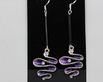 Earrings oversize-purple-enamel-waved
