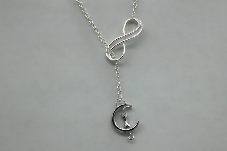 Cat necklace lasso moon infinity 925 silver sliding venetian necklace with silver cat sitting on a crescent moon