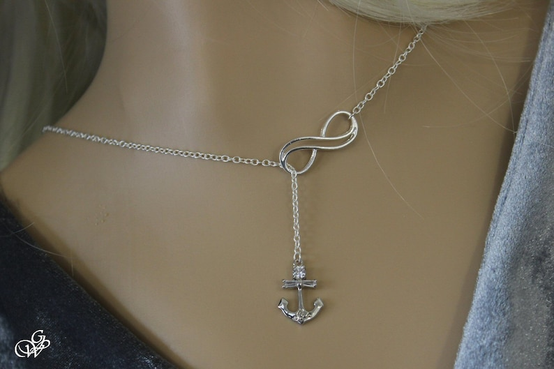 Lasso necklace Navy anchor on silver double infinity